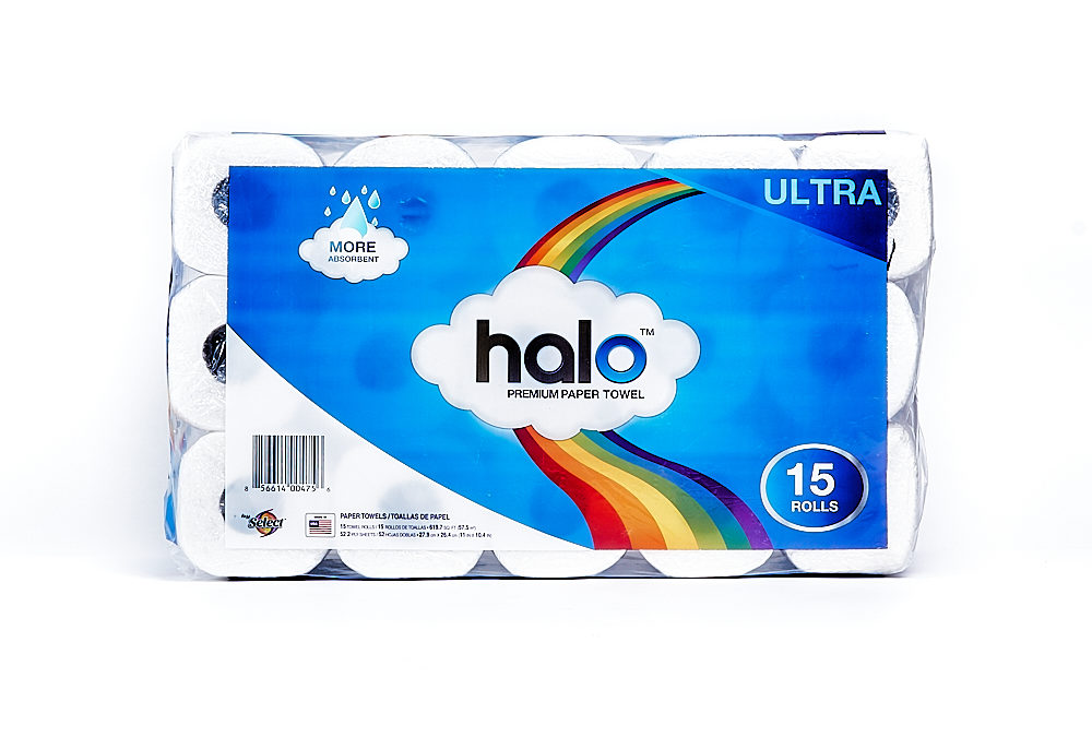 Halo Towel 52 Count Single Roll 15 Pack