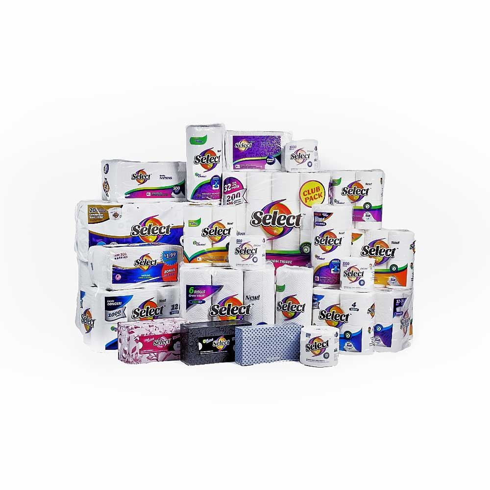 Group of facial tissue, paper towels, napkins and bath tissue products