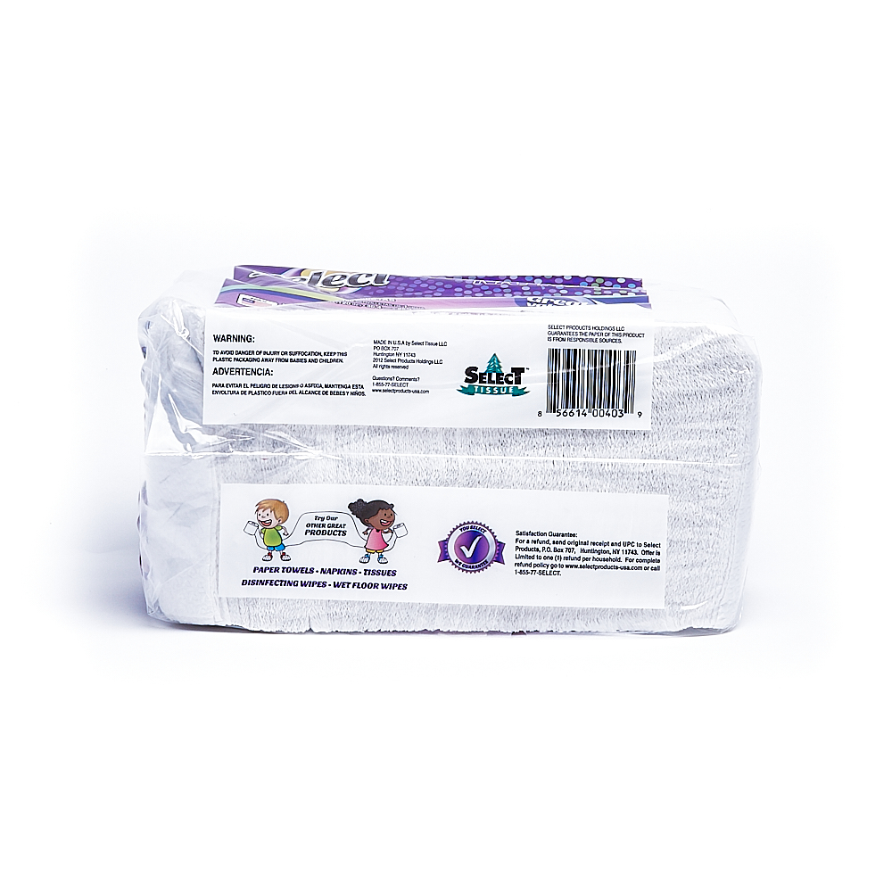 Back side of 1-Ply Select napkin package (150 sheets/1 pack)