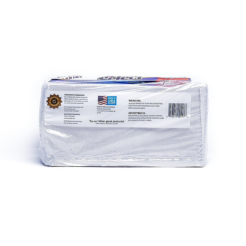 Back side of 1-Ply Select napkin package (300 sheets/1 pack)