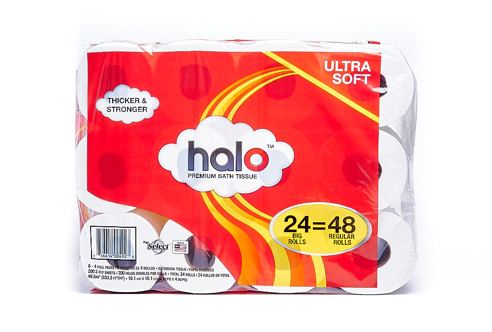 Halo 24/4 Pack Bundle (6/4 Packs) 200 Count 2-ply Bath