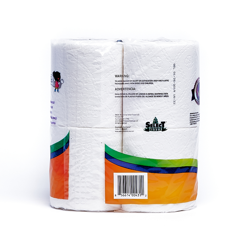 Back side of 2-Ply Select bath tissue package (135 sheets/4 pack)