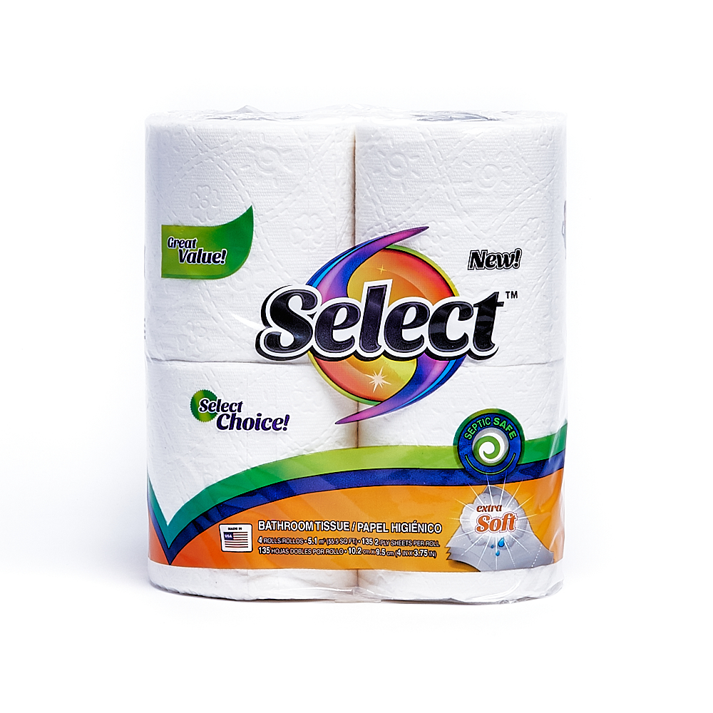 Front side of 2-Ply Select bath tissue package (135 sheets/4 pack)
