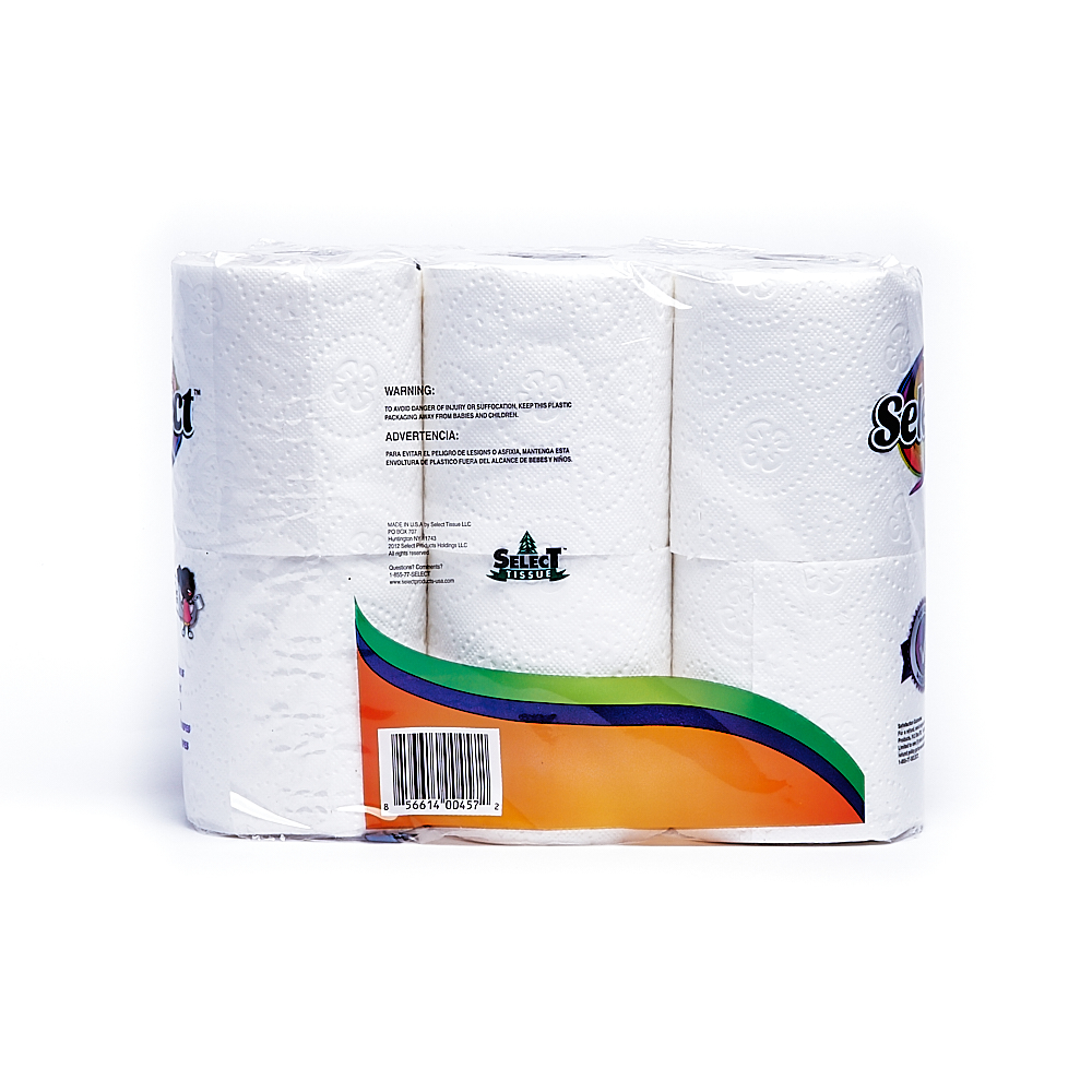 Back side of 2-Ply Select bath tissue package (135 sheets/6 pack)