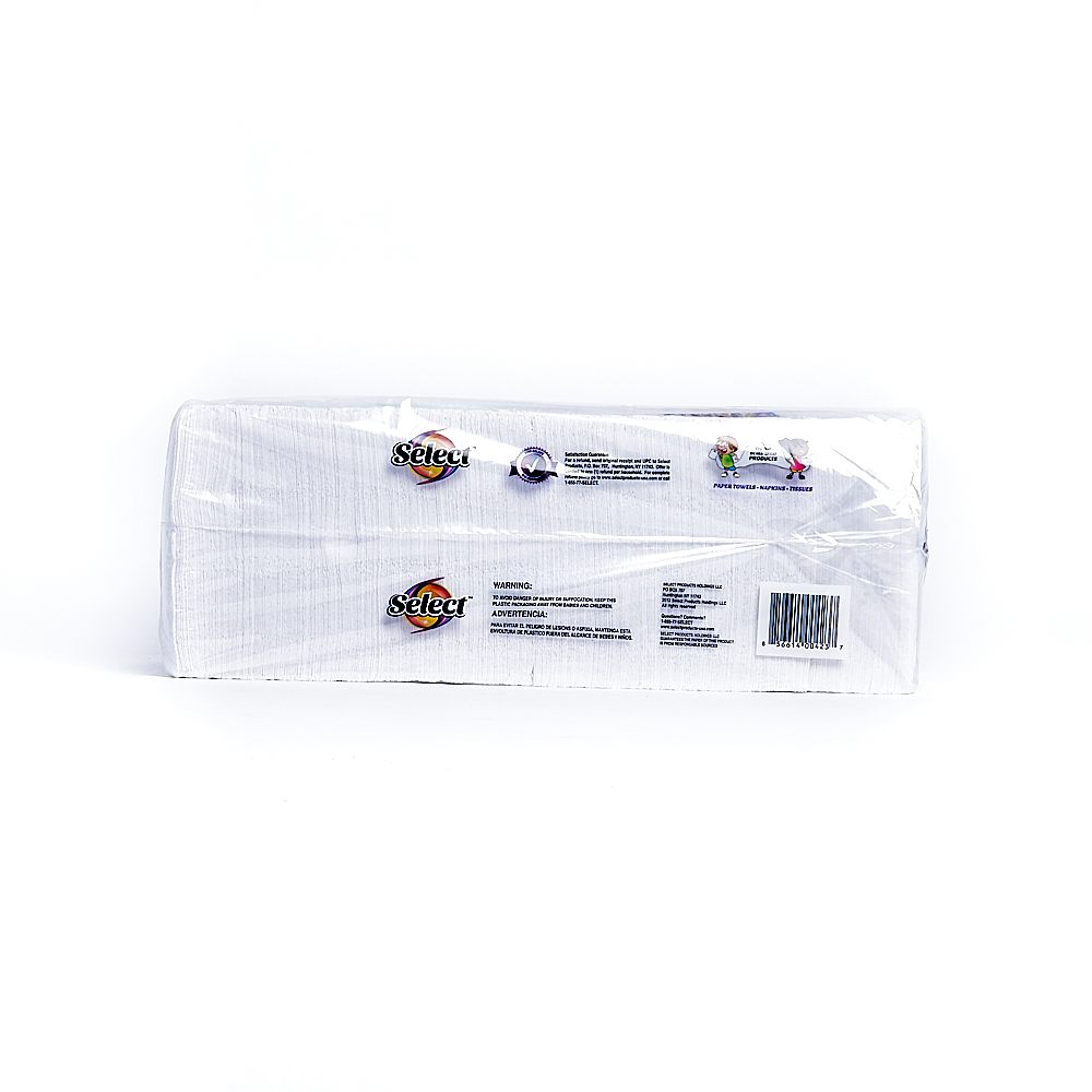 Back side of 1-Ply Select napkin package (500 sheets/1 pack)