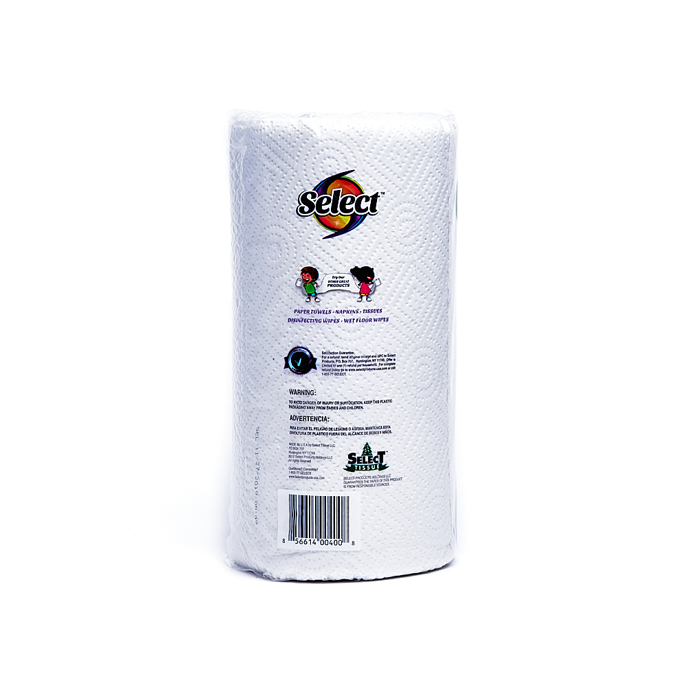 Back side of 2-Ply Select paper towel package (100 sheets/1 pack)