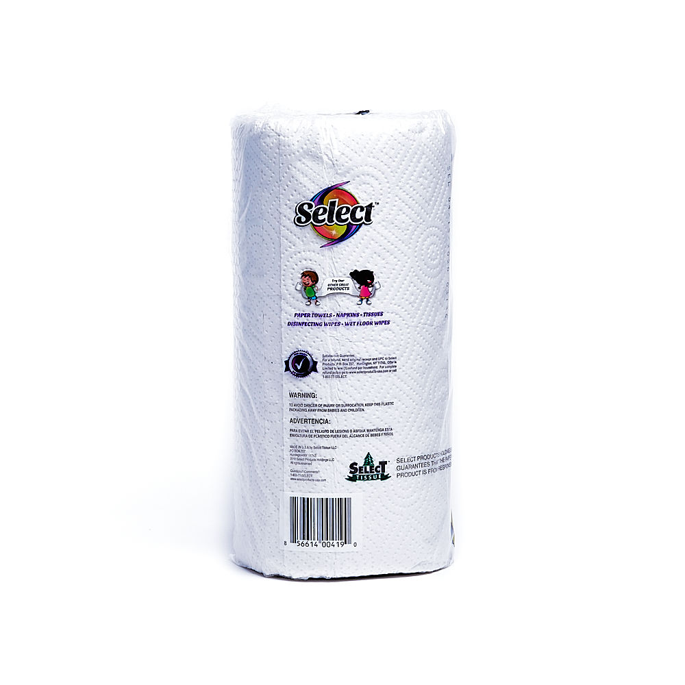 Back side of 2-Ply Select paper towel roll package (142 sheets)