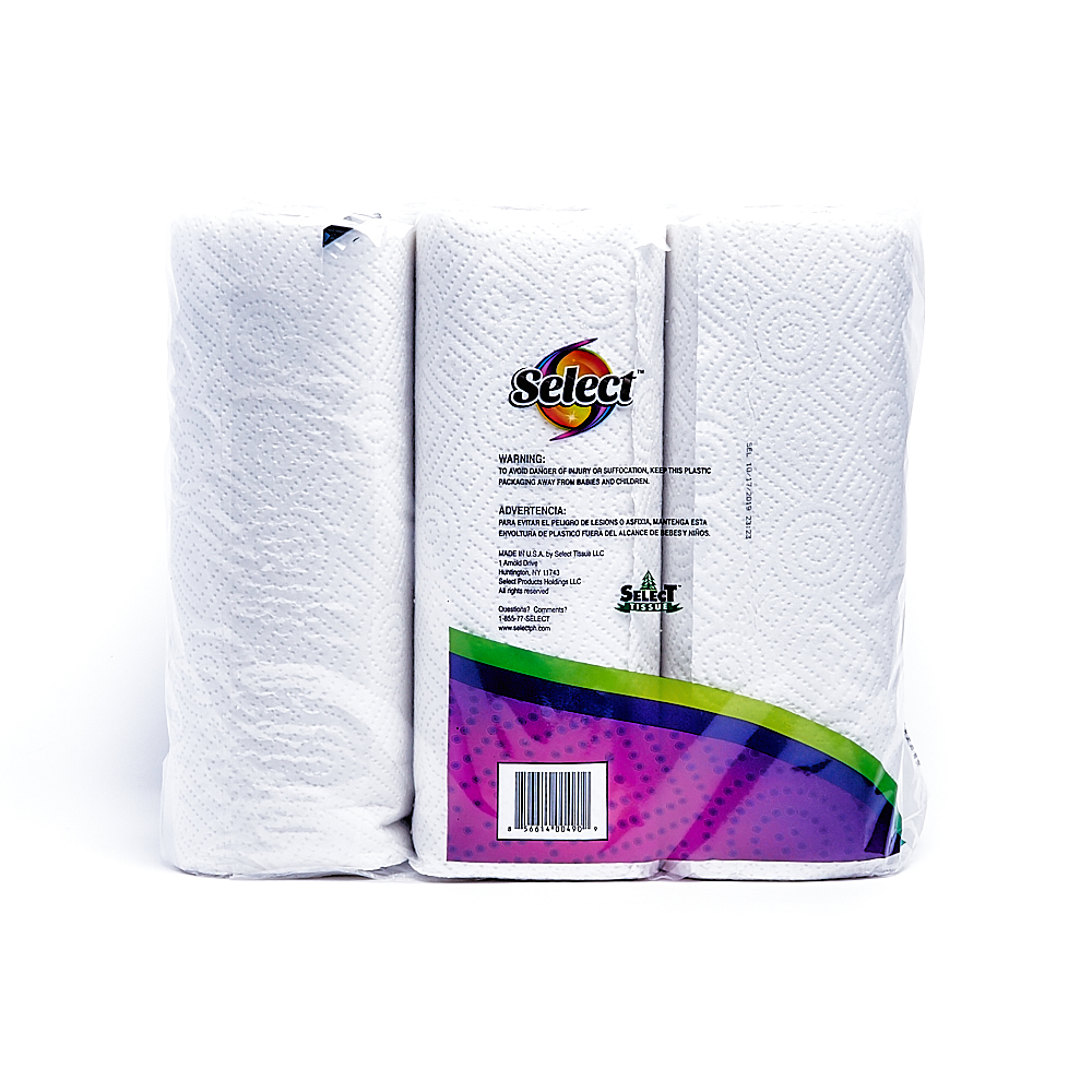 Back side of 2-Ply Select paper towel roll package (60 sheets/6 pack)