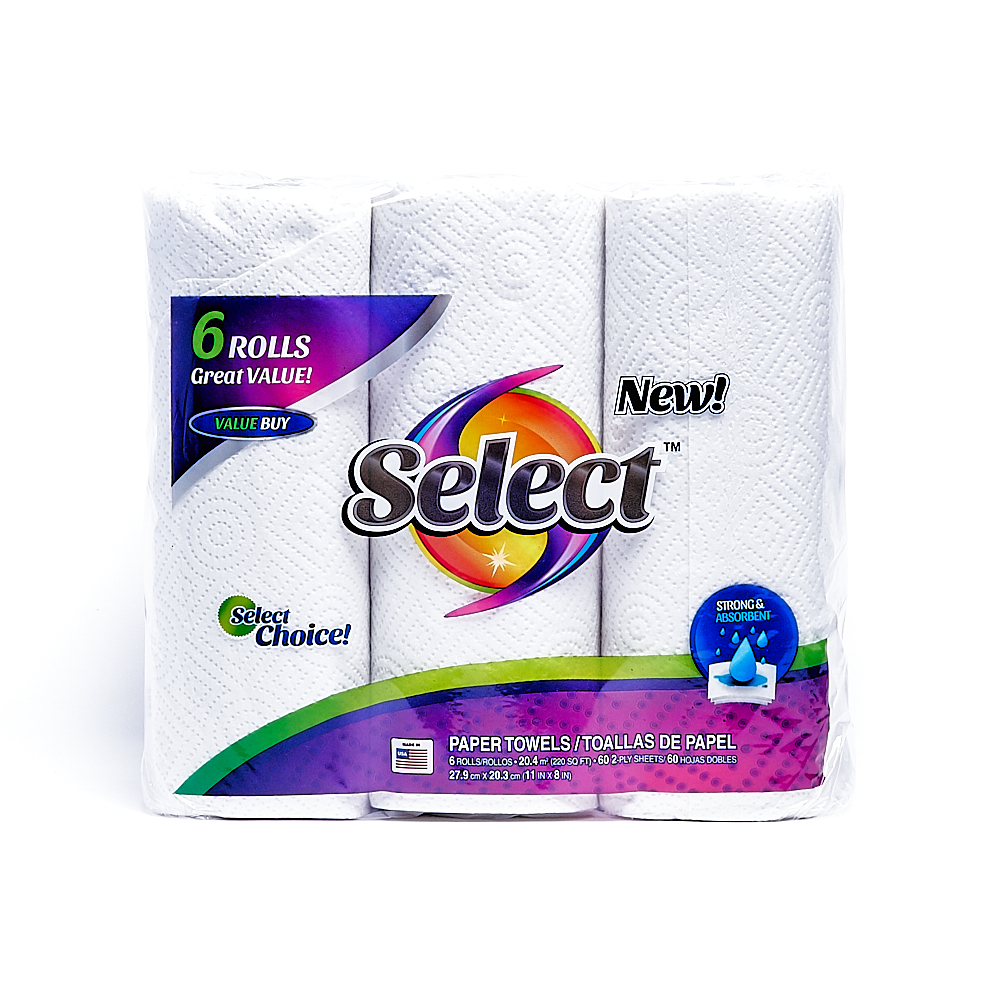 Front side of 2-Ply Select paper towel roll package (60 sheets/6 pack)