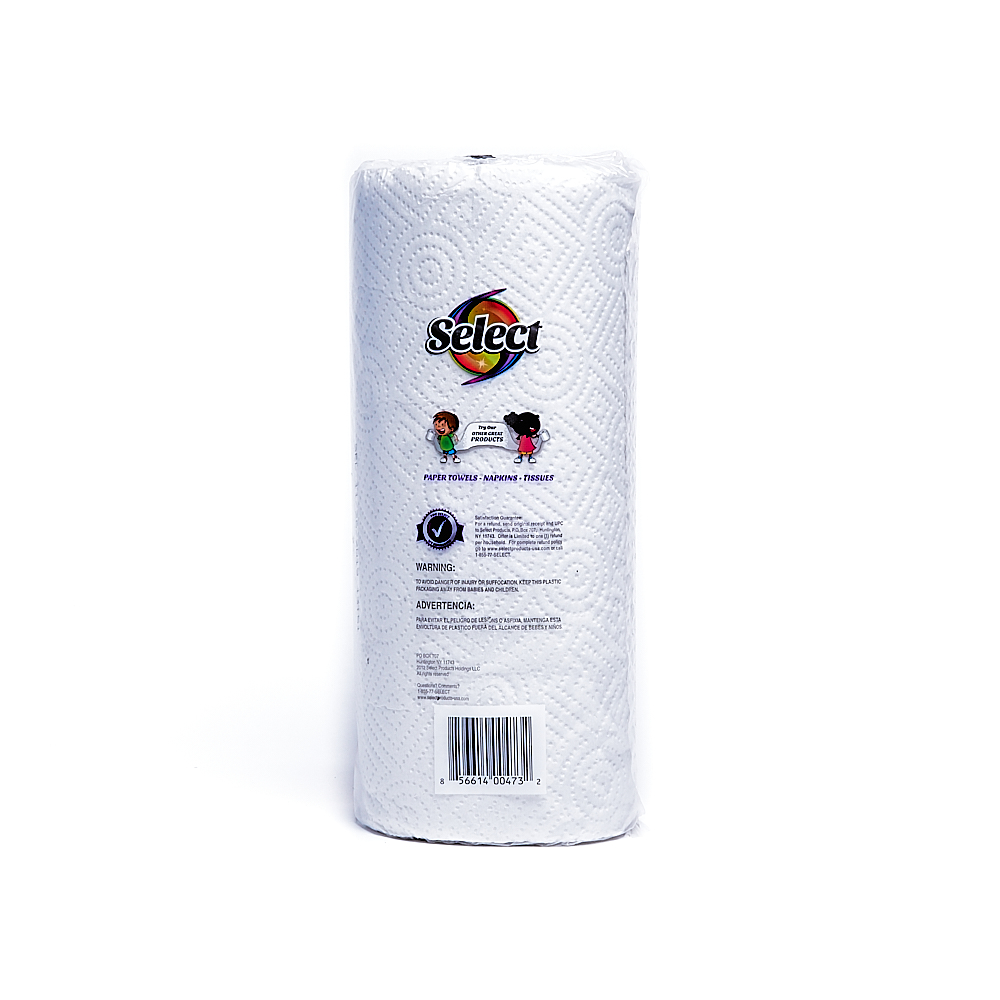 Back side of 2-Ply Select paper towel roll package (70 sheets)