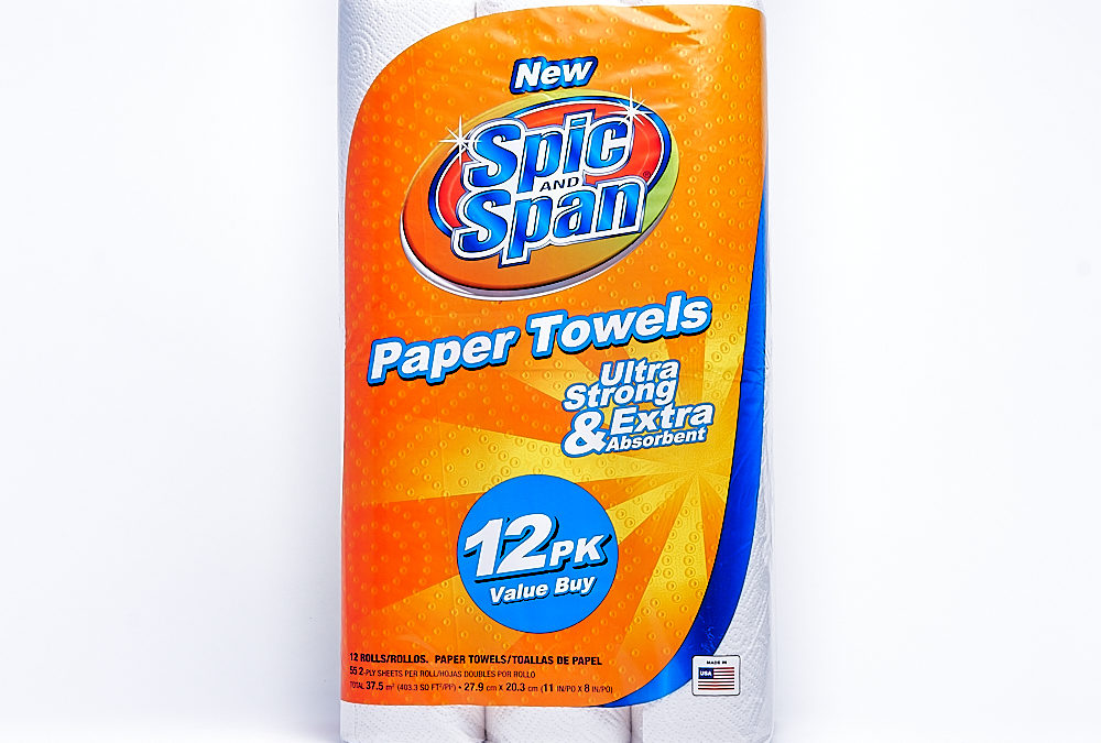 Spic & Span Towel 55 Count 12 Pack – Regular Roll – Display Ready Pallet