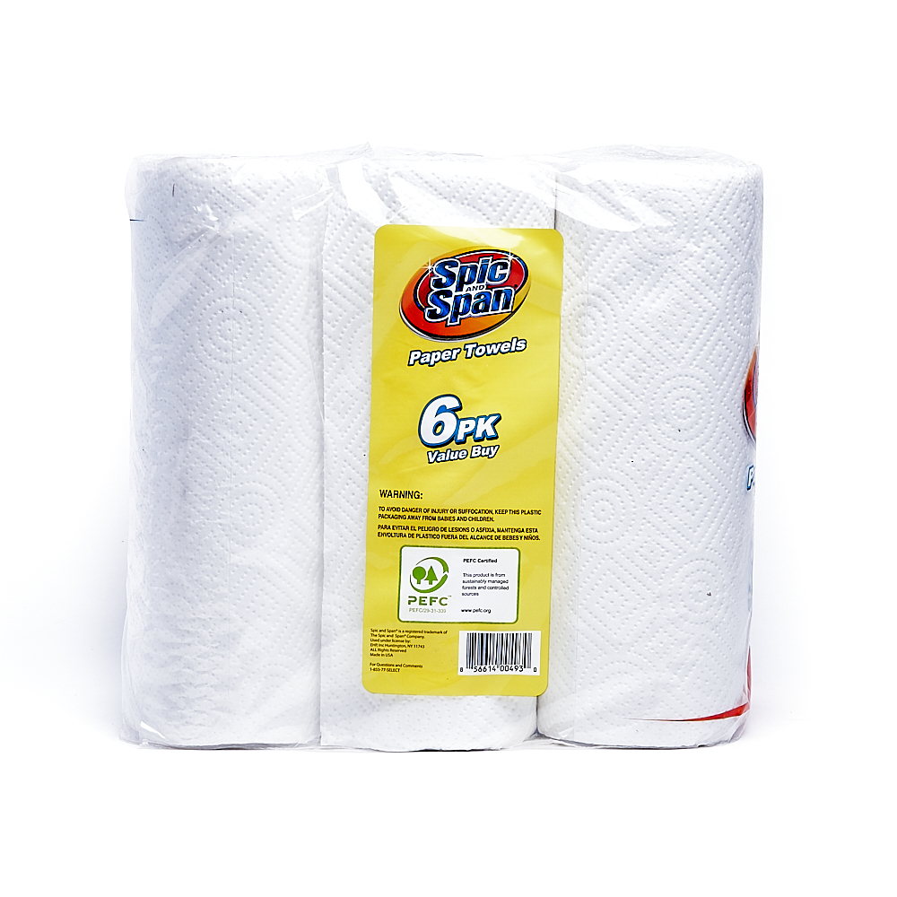 Back side of 2-Ply Spic and Span paper towel roll package (55 sheets/6 pack)