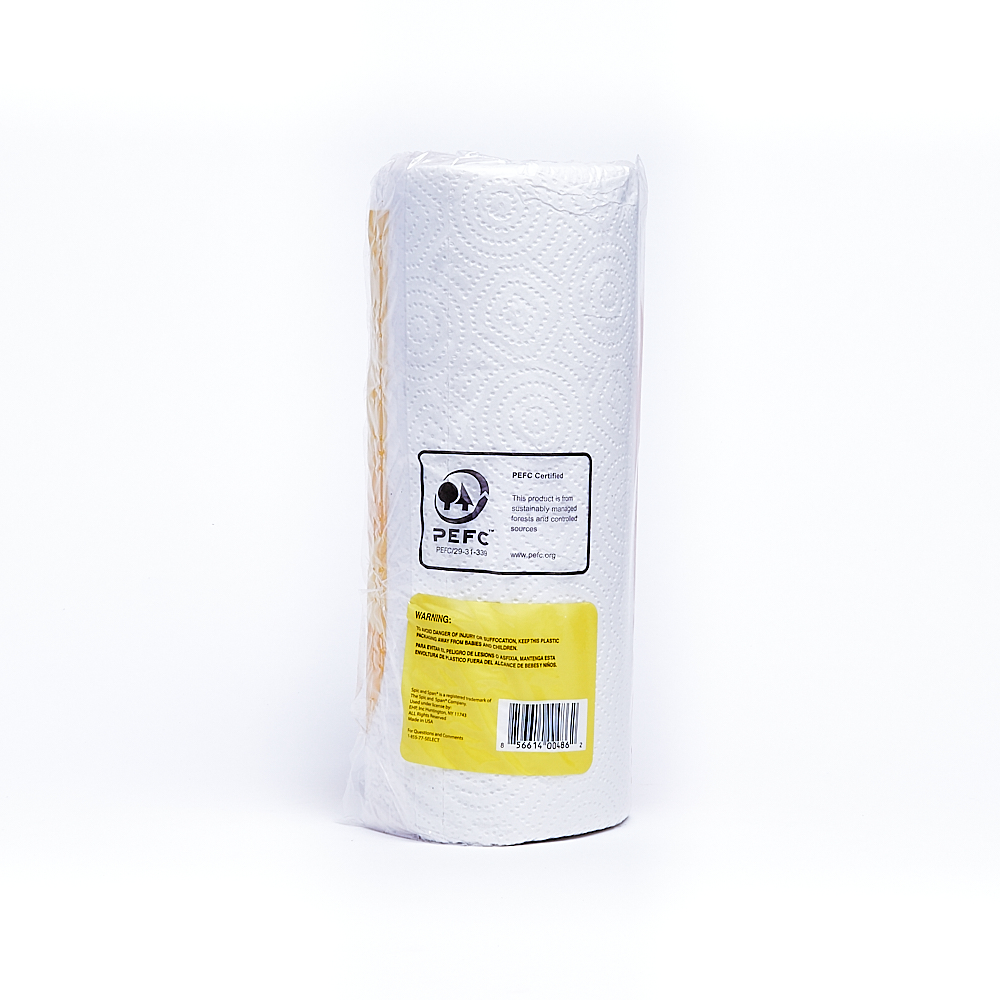 Back side of 2-Ply Spic and Span paper towel roll package (60 sheets/15 pack)