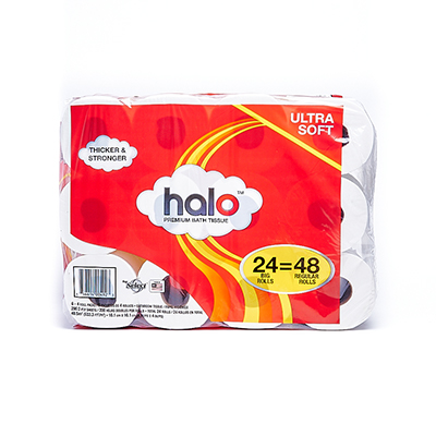Packaging of Halo paper towel rolls