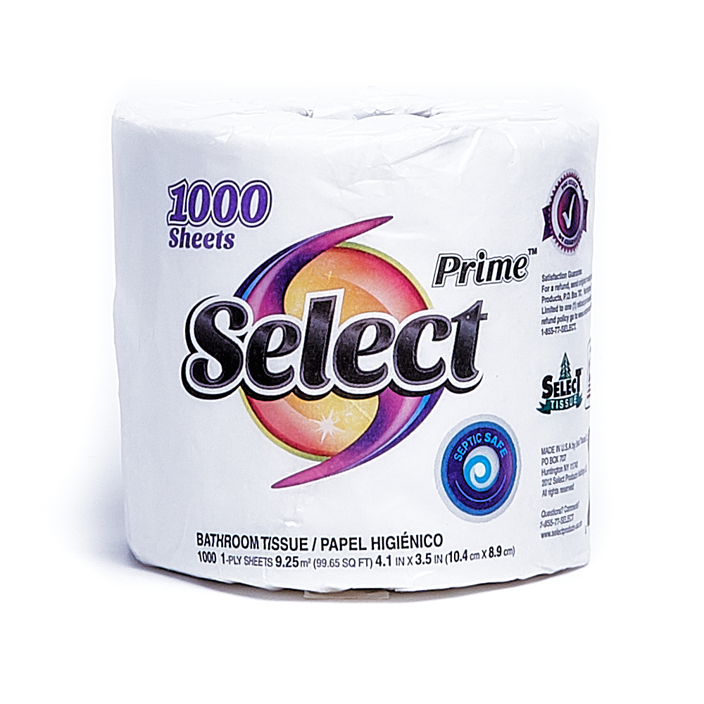 Front side of 1-Ply Select bath tissue single roll (1000 sheets)