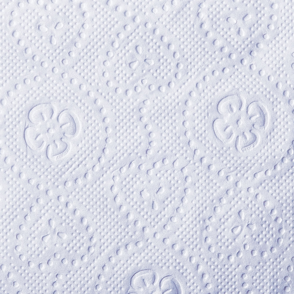 Texture of Select bath tissue single roll with hearts and clovers