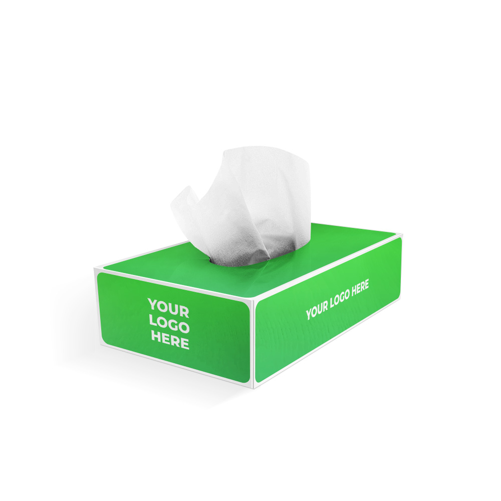 Private label facial tissue product with customizable packaging options